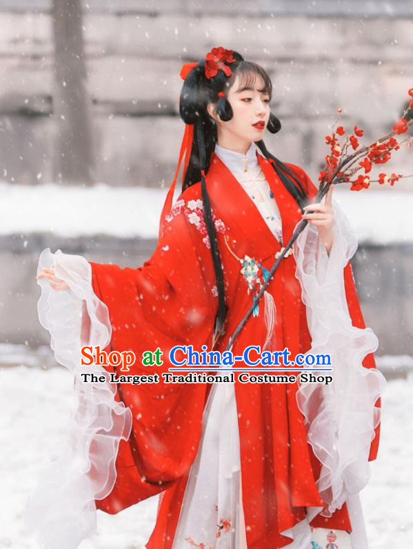 Traditional Chinese Ming Dynasty Historical Costumes Hanfu Dress Ancient Noble Lady Garment Red Cloak