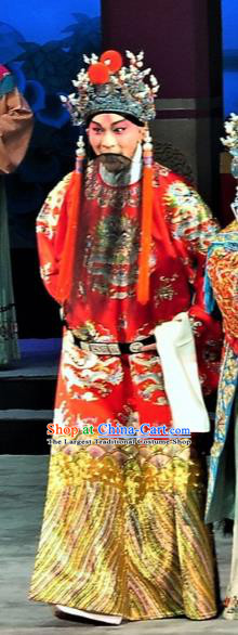 Chinese Classical Kun Opera Emperor Costumes Garment and Hat The Palace of Eternal Youth Peking Opera Elderly Male Apparels