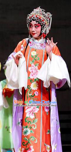 Chinese Kun Opera Palace Maid Red Dress The Palace of Eternal Youth Costumes Peking Opera Hua Tan Apparels Garment and Hair Ornaments
