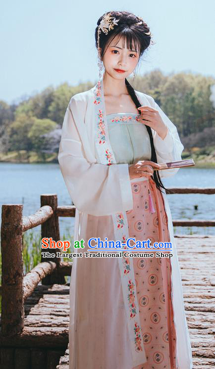 Chinese Traditional Song Dynasty Historical Costumes Ancient Young Lady Hanfu Dress Garment Apparels