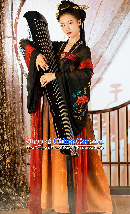 Chinese Ancient Court Woman Embroidered Historical Costumes Traditional Tang Dynasty Princess Hanfu Dress