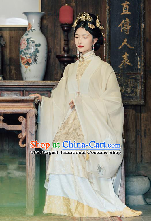 Chinese Ancient Ming Dynasty Princess Historical Costumes Traditional Royal Woman Noble Female Embroidered Hanfu Dress