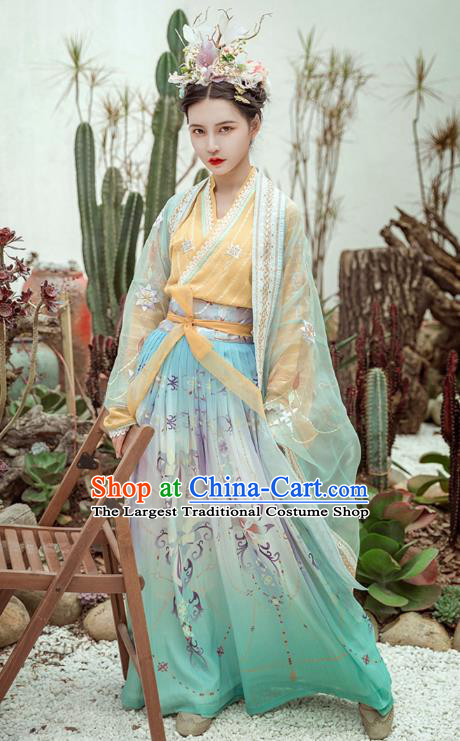 Chinese Traditional Hanfu Dress Ancient Song Dynasty Young Lady Apparels Historical Costumes for Women