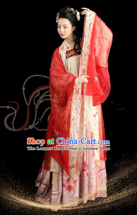 Chinese Ancient Court Lady Apparels Historical Costumes Traditional Tang Dynasty Noble Consort Hanfu Dress for Women