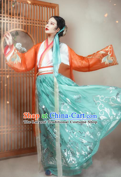 Ancient Chinese Song Dynasty Young Lady Apparels Traditional Women Hanfu Dress Historical Costumes