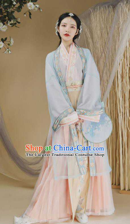 Ancient Chinese Traditional Women Hanfu Dress Young Lady Apparels Song Dynasty Historical Costumes Complete Set