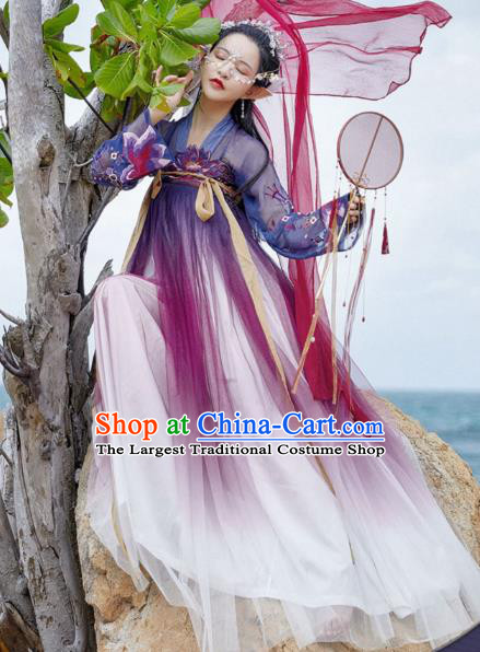 Chinese Traditional Ancient Apparels Tang Dynasty Historical Costumes Young Lady Hanfu Dress