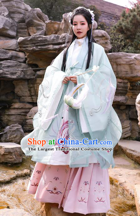 Chinese Traditional Ming Dynasty Noble Lady Apparels Embroidered Historical Costumes Ancient Royal Princess Hanfu Dress