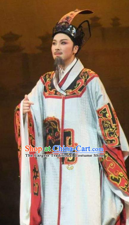 Chinese Yue Opera Elderly Male Han Feizi Costumes Apparels and Headwear Shaoxing Opera Ideologist Garment Clothing