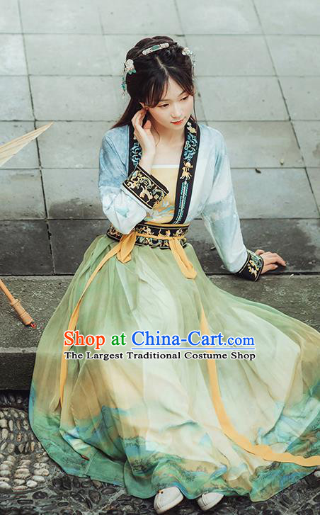 Chinese Ancient Young Lady Hanfu Dress Garment Traditional Ming Dynasty Historical Costumes Woman Apparels Complete Set