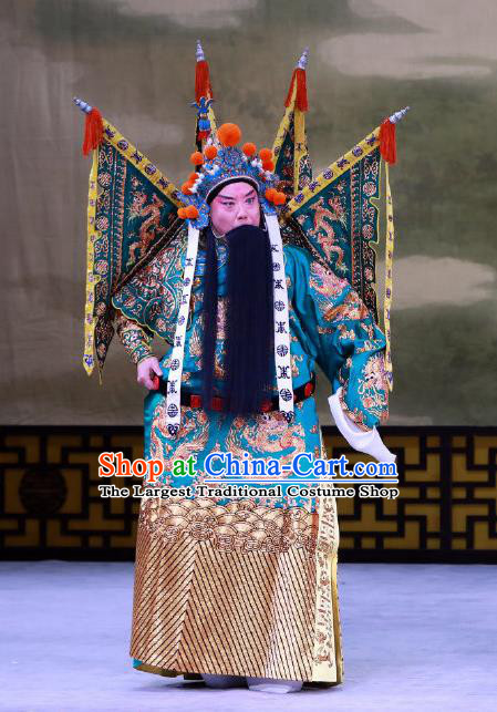 Jiu Jiang Kou Chinese Peking Opera General Garment Costumes and Headwear Beijing Opera Wusheng Apparels Martial Male Kao Armor Suit with Flags Clothing