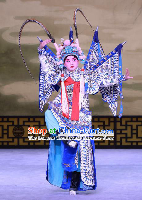 Jiu Jiang Kou Chinese Peking Opera Young General Garment Costumes and Headwear Beijing Opera Wusheng Apparels Martial Male Hua Yunlong Kao Armor Suit with Flags Clothing