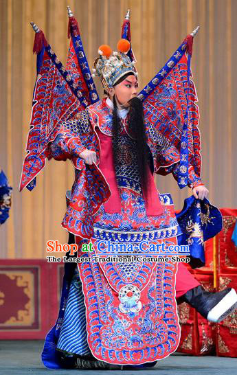 Zhan Tai Ping Chinese Peking Opera General Kao Suit with Flags Garment Costumes and Headwear Beijing Opera Martial Male Hua Yun Apparels Armor Clothing