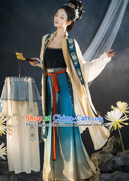 Chinese Traditional Song Dynasty Civilian Lady Apparels Historical Costumes Ancient Women Hanfu Dress Garment Complete Set