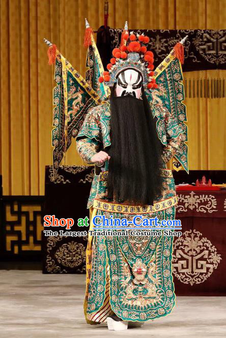 Yi Zhan Cheng Gong Chinese Peking Opera Military Officer Kao Garment Costumes and Headwear Beijing Opera Apparels Clothing General Xu Huang Green Armor Suit with Flags