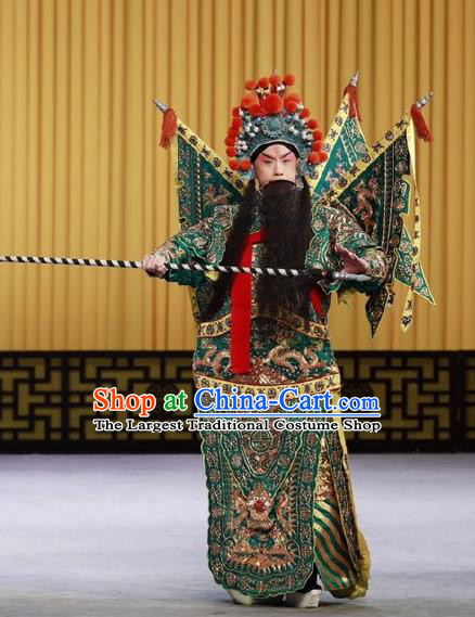 Nan Tian Men Chinese Peking Opera General Green Kao Armor Suit with Flags Garment Costumes and Headwear Beijing Opera Jing Role Apparels Clothing
