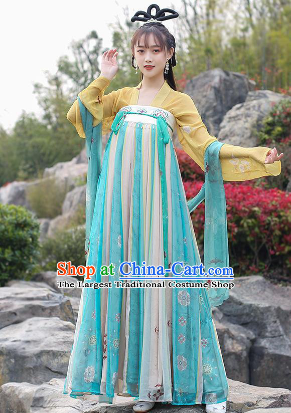 Chinese Traditional Tang Dynasty Noble Female Hanfu Dress Ancient Apparels Patrician Lady Historical Costumes for Women