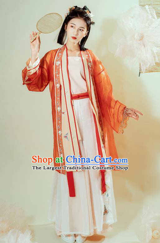 Chinese Traditional Song Dynasty Young Lady Historical Costumes Ancient Civilian Female Embroidered Hanfu Dress Garment