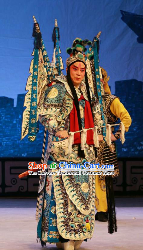 Nan Jie Guan Chinese Peking Opera General Kao Suit Garment Costumes and Headwear Beijing Opera Wusheng Apparels Armor Clothing with Flags
