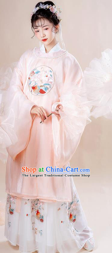 Chinese Traditional Ming Dynasty Noble Lady Historical Costumes Ancient Court Princess Embroidered Hanfu Dress Garment