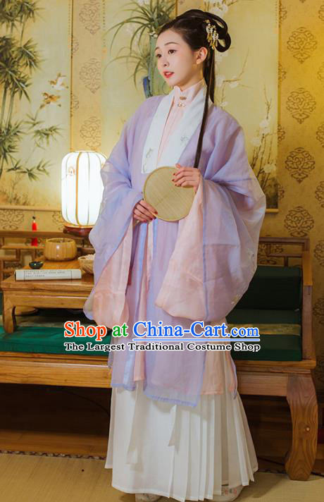 Chinese Traditional Ming Dynasty Noble Female Embroidered Hanfu Dress Garment Ancient Patrician Lady Historical Costumes