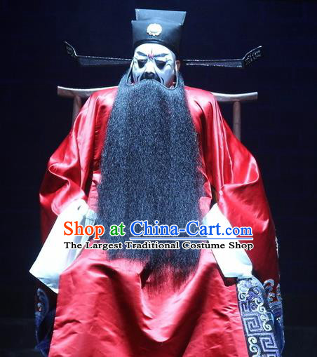 Love Bell Tower Chinese Peking Opera Laosheng Official Garment Costumes and Headwear Beijing Opera Elderly Male Red Apparels Clothing