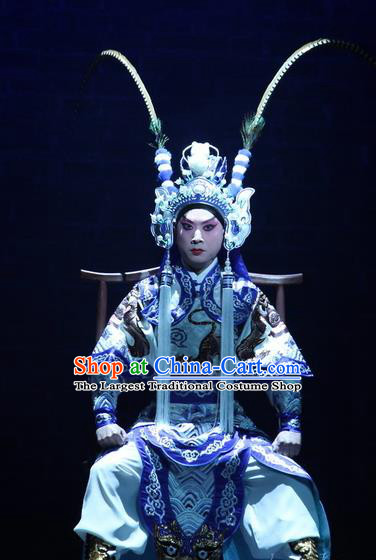 Love Bell Tower Chinese Peking Opera Takefu Garment Costumes and Headwear Beijing Opera Wusheng Apparels Martial Male Clothing