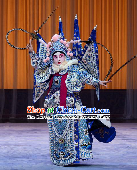Da Ying Jie Lie Chinese Peking Opera General Kao Armor Suit with Flags Garment Costumes and Headwear Beijing Opera Takefu Kuang Zhong Apparels Clothing