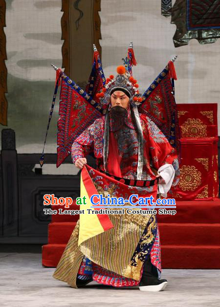 Xi Shi Chinese Peking Opera Wusheng Garment Costumes and Headwear Beijing Opera General Red Kao Armor Suit with Flags Apparels Clothing