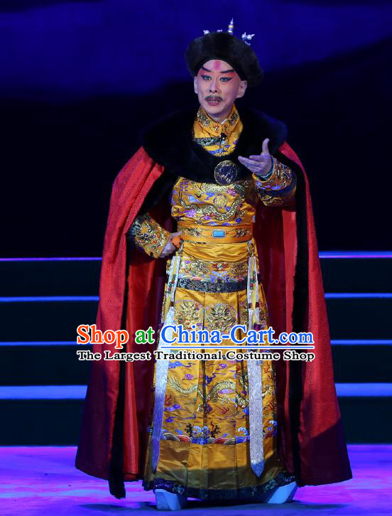 Kangxi Dadi Chinese Peking Opera Imperial Robe Garment Costumes and Headwear Beijing Opera Qing Dynasty Emperor Apparels Clothing