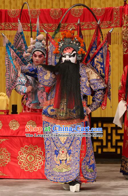 A Honey Trap Chinese Peking Opera Wusheng Kao Garment Costumes and Headwear Beijing Opera Apparels Martial Man Clothing General Blue Armor Suit with Flags