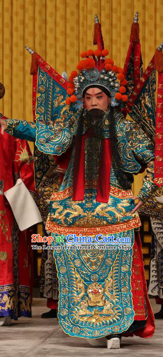A Honey Trap Chinese Peking Opera Wusheng Kao with Flags Garment Costumes and Headwear Beijing Opera Apparels Martial Man Clothing General Green Armor Suit