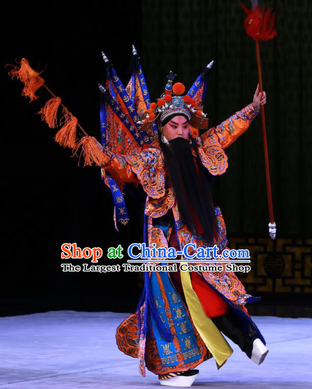 Kirin Pavilion Chinese Peking Opera General Armor Garment Costumes and Headwear Beijing Opera Kao Suit with Flags Apparels Clothing