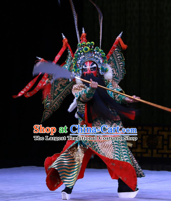 Kirin Pavilion Chinese Peking Opera General Shan Xiongxin Garment Costumes and Headwear Beijing Opera Kao Armor Suit with Flags Apparels Clothing