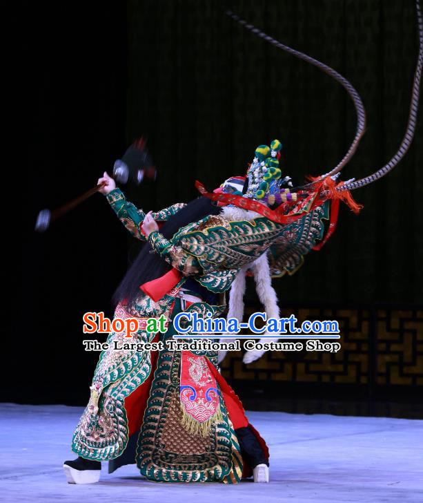 Hongqiao with the Pearl Chinese Peking Opera General Shan Xiongxin Garment Costumes and Headwear Beijing Opera Kao Armor Suit with Flags Apparels Clothing