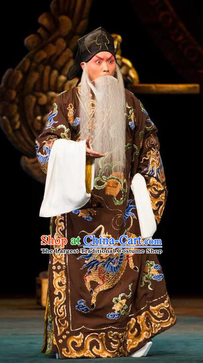 Luo Yang Gong Chinese Peking Opera Prime Minister Garment Costumes and Headwear Beijing Opera Chancellor Fang Xuanling Apparels Clothing
