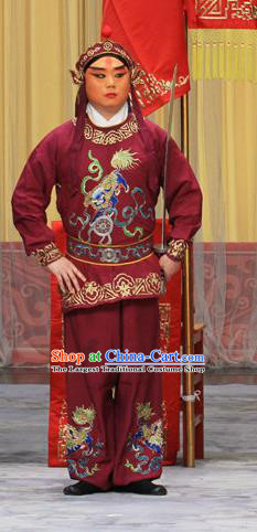 Kirin Pavilion Chinese Peking Opera Wusheng Garment Costumes and Headwear Beijing Opera Takefu Apparels Soldier Clothing