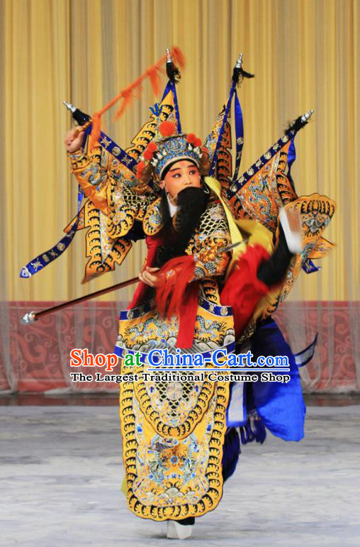 Kirin Pavilion Chinese Peking Opera General Armor Garment Costumes and Headwear Beijing Opera Takefu Apparels Kao Suit with Flags Clothing