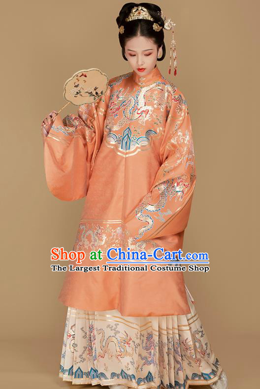 Chinese Traditional Ming Dynasty Countess Hanfu Dress Apparels Ancient Noble Female Historical Costumes Brocade Blouse and Skirt Full Set