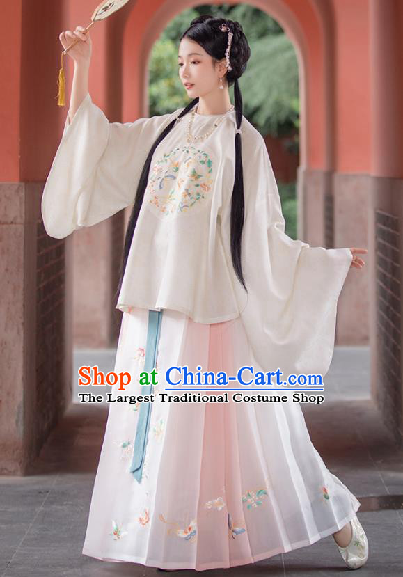 Traditional Chinese Ming Dynasty Patrician Lady Hanfu Apparels Ancient Nobility Female Historical Costumes Embroidered Blouse and Horse Face Skirt Complete Set