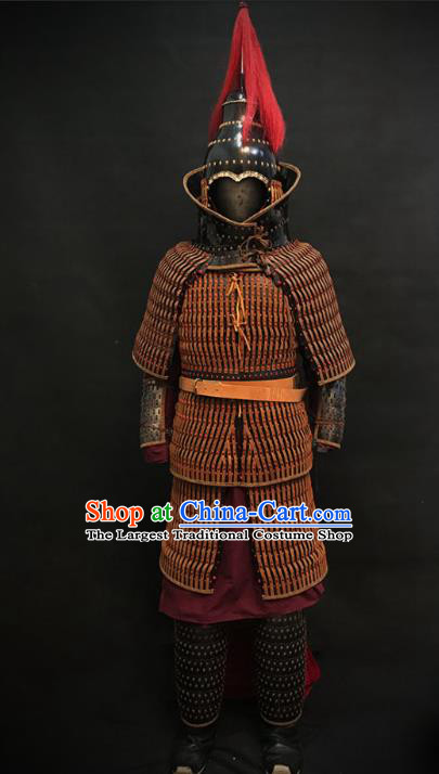 Traditional Chinese Jin Dynasty General Body Armor Ancient Military Officer Cavalry Costumes and Helmet Full Set