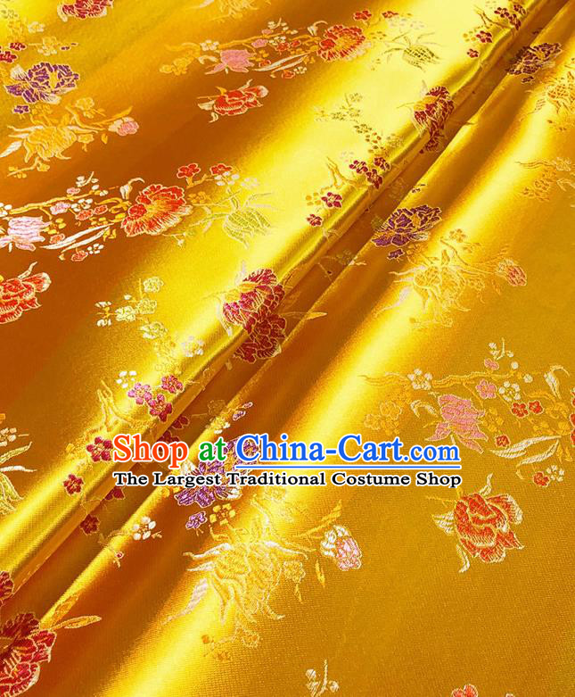 Asian Chinese Traditional Pomegranate Flowers Pattern Design Golden Brocade Silk Fabric Tang Suit Tapestry Satin Material