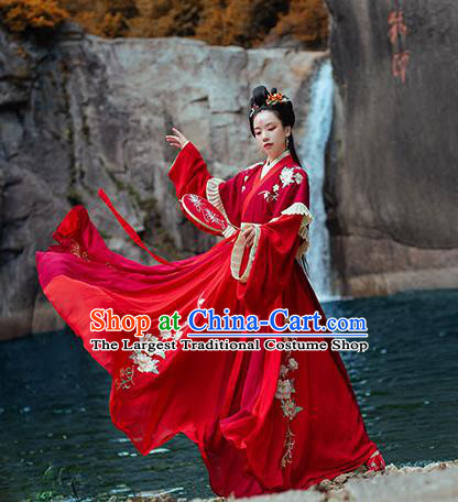 Chinese Ancient Noble Princess Red Hanfu Garment Costumes Jin Dynasty Palace Lady Wedding Half Sleeved Top Blouse and Skirt Full Set