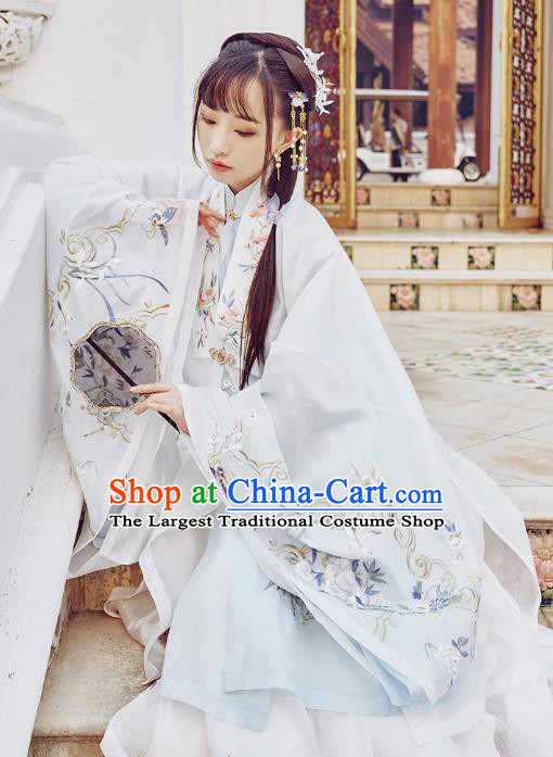 Chinese Traditional Ming Dynasty Rich Lady Garment Ancient Princess Embroidered Cloak Blouse and Skirt Hanfu Costumes Full Set