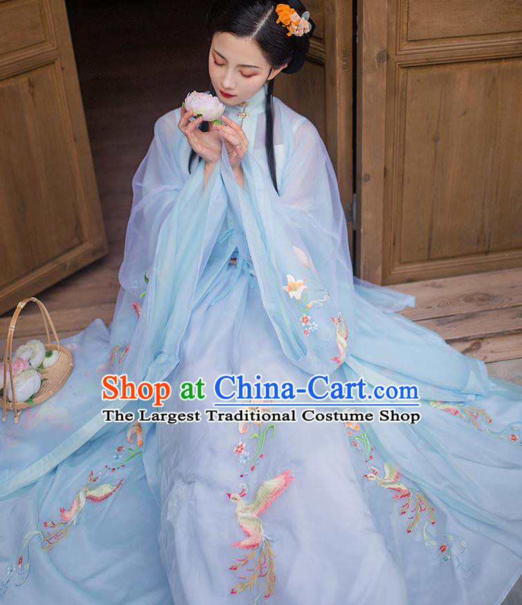Chinese Ming Dynasty Noble Female Blue Blouse Vest and Skirt Traditional Ancient Rich Lady Historical Costumes Hanfu Garment Full Set