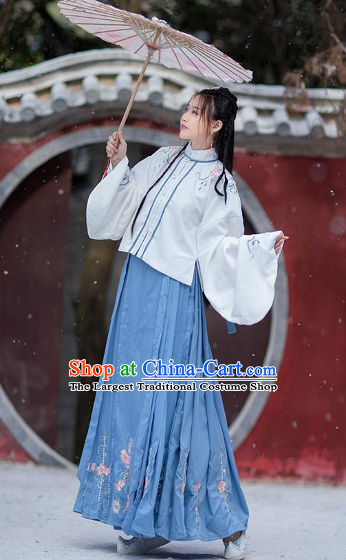 Traditional Chinese Ming Dynasty Costumes Hanfu Garment Ancient Noble Lady Embroidered White Blouse and Blue Skirt Full Set