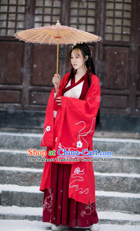 Chinese Ming Dynasty Female Swordsman Costumes Traditional Hanfu Garment Ancient Young Lady Embroidered Red Cloak Blouse and Skirt Full Set