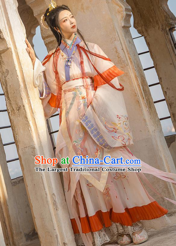 Traditional Chinese Jin Dynasty Noble Infanta Hanfu Dress Apparels Ancient Royal Princess Historical Costumes Complete Set