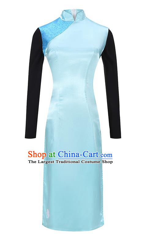 Traditional Chinese Qipao Dress Costumes China Cosplay Slim Blue Short Cheongsam for Women