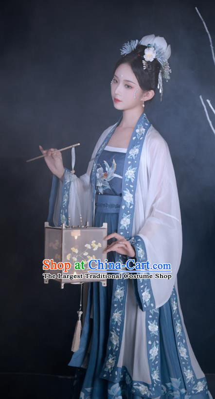 Traditional Chinese Song Dynasty Historical Costumes Ancient Noble Concubine Hanfu Garment Embroidered BeiZi Camisole Blouse and Skirt Full Set